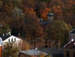 Widok na Plac Jana Pawła II Parka Potulickich i wieżę Muzeum Starożytnego Hutnictwa Mazowieckiego (Medium).jpeg